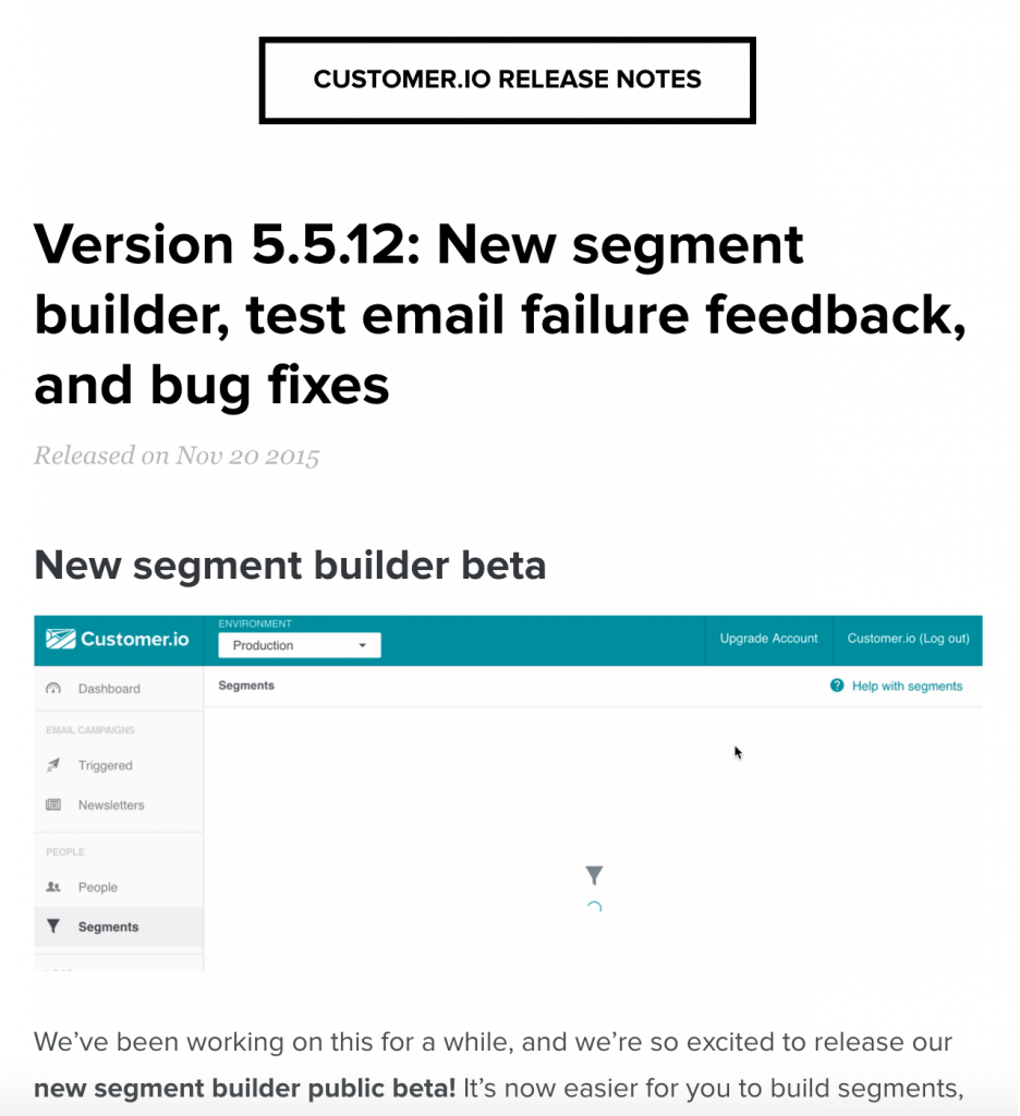 Customer.io Release Notes