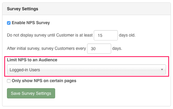 Limit NPS to an Audience